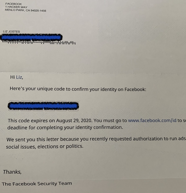 Political Identity confirmation from Facebook