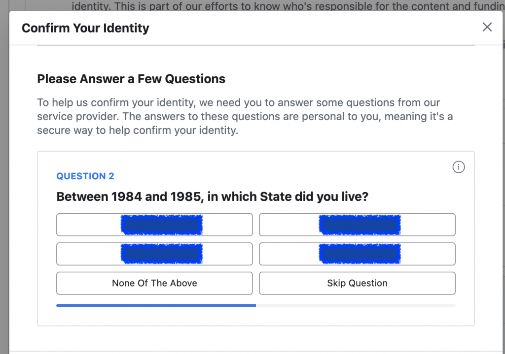 Identity confirmation question for Facebook ads