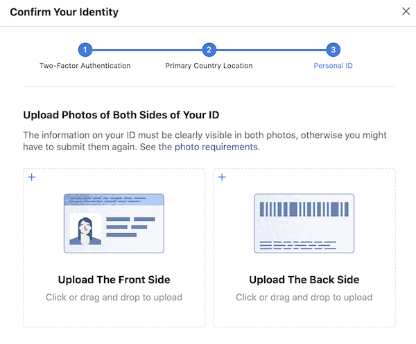 Upload your ID to confirm your identity on Facebook