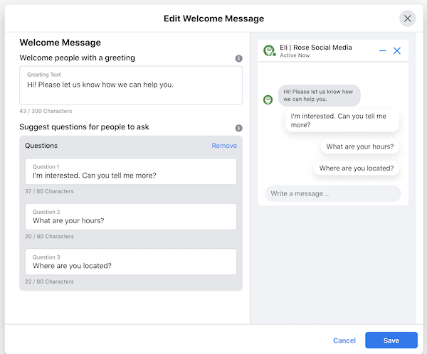 Facebook boost welcome message