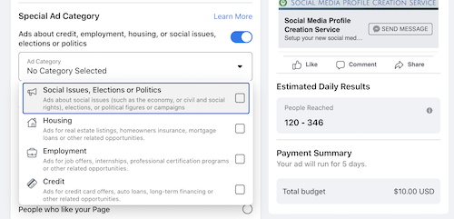Mark a Facebook boost as a special ads category
