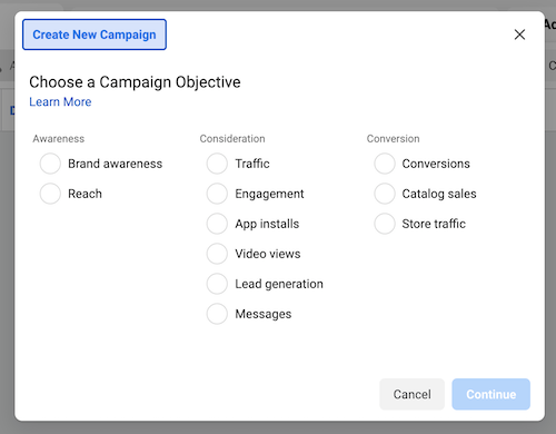 Choose Facebook Ad Campaign Objective