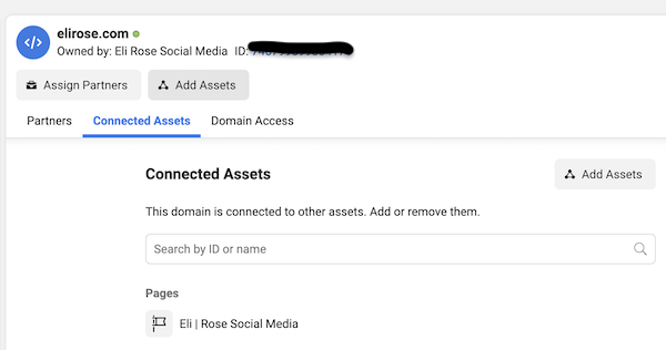 Facebook Page a Connected Asset