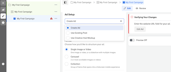 Create new Facebook ad or choose existing post