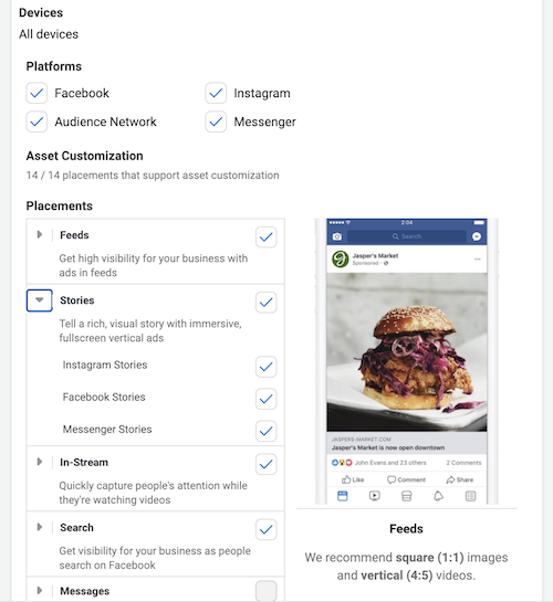 Deselect placements you don't want your Facebook ad to show