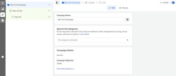 Facebook ads special ad category selection