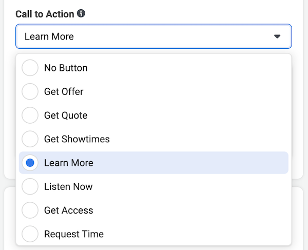 set call to action button message for your Facebook ad